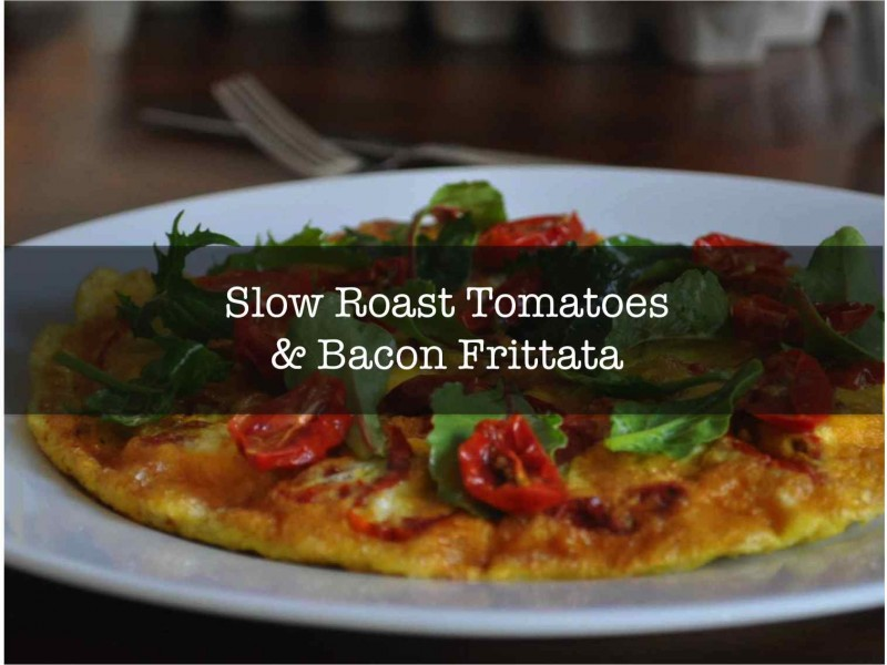 Slow Roasted Tomatoe and Bacon Frittata - Front Page