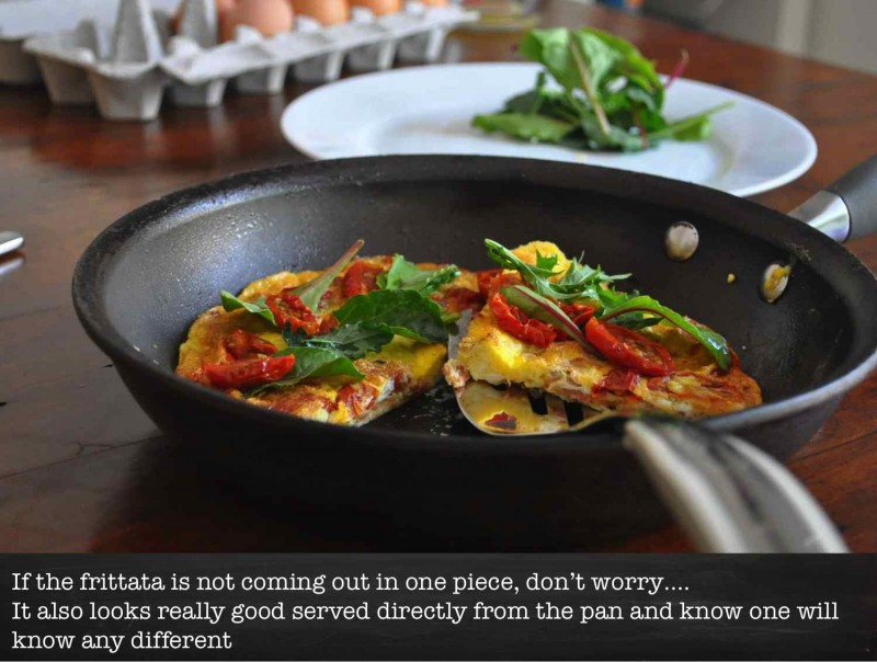 Slow Roasted Tomatoe and Bacon Frittata - Serve in the pan